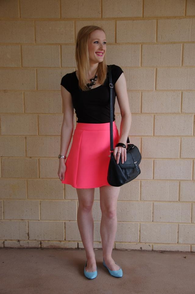 Dotti fluoro pink skirt