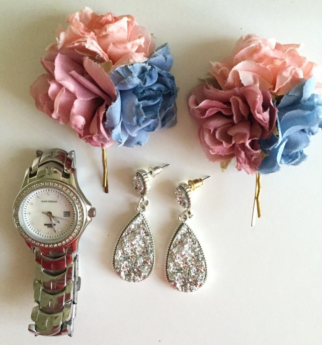 Silver watch, earrings and floral hairclips | Extraordinary Days