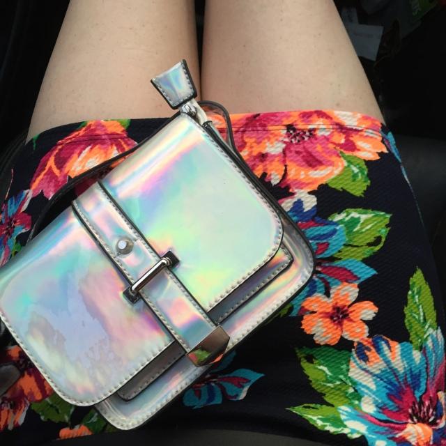 Holographic handbag and black floral dress | Extraordinary Days