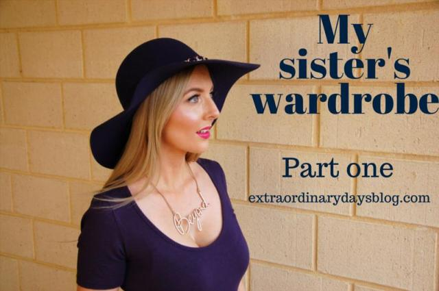 My Sister's Wardrobe part one - navy hat, dress and gold lettering necklace | Extraordinary Days
