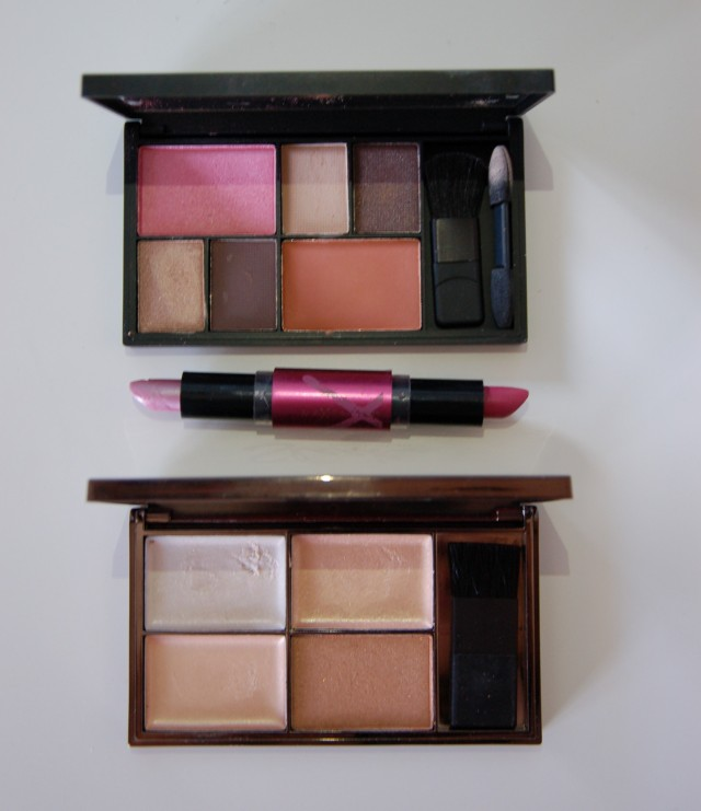 [Top to bottom] Sleek Eye and Cheek Pallete in Dancing til Dusk, Max Factor Flipstick Colour Effect in Boreal Mauve and Sleek Highlighting Pallette in Precious Metals.