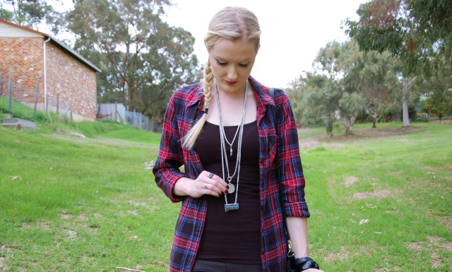 Red and blue plaid shirt and leather pants OOTD | Extraordinary Days Blog